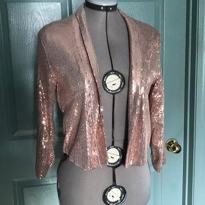 EUC H&M rose gold sequin jacket size xs